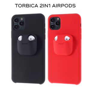 Maska 2in1 airpods za iPhone XS Max crvena