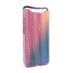 Maska Carbon glass za Samsung A805F Galaxy A80 pink