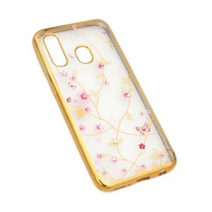 Maska Pink Flower za Samsung A405F Galaxy A40 zlatna