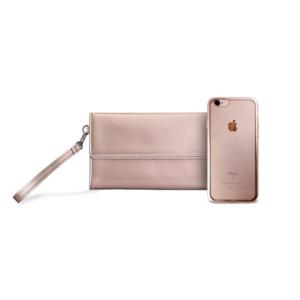 Maska Puro Metal Duo za iPhone 6/6S + satenska Maska roze