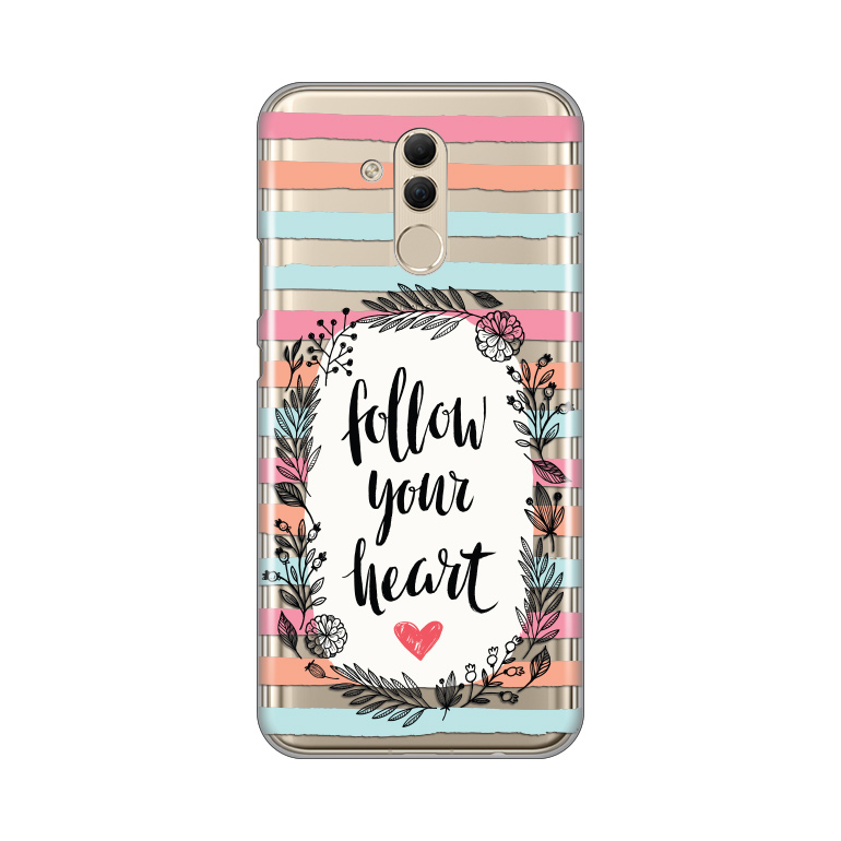 Maska Silikonska Print Skin za Huawei Mate 20 Lite Follow Your Heart Quote