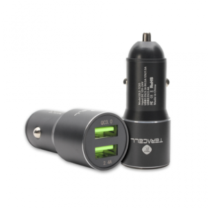 Auto punjac Teracell Evolution TC-05 2xUSB QC3.0 2.4A sa iPhone lightning kablom crni