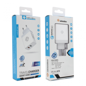 Kucni punjac Teracell Evolution TC-03 QC3.0 2.4A sa iPhone lightning kablom beli