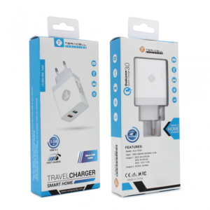 Kucni punjac Teracell Evolution TC-03 QC3.0 2.4A sa micro USB kablom beli