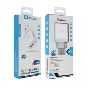 Kucni punjac Teracell Evolution TC-04 USB+PD 2.4A sa iPhone lightning kablom beli