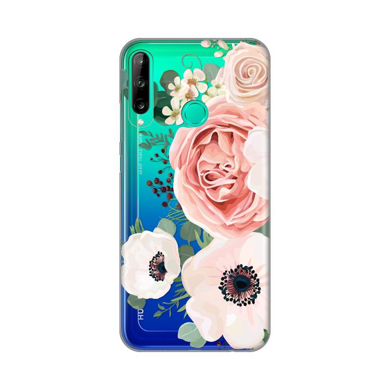 Maska Silikonska Print Skin za Huawei P40 Lite E Luxury Pink Flowers