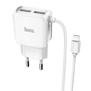 Kucni punjac HOCO C59A 2xUSB sa iPhone lightning kablom beli