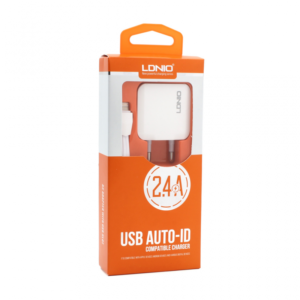 Kucni punjac LDNIO A2201 2xUSB 5V 2.4A + adapter sa iPhone lightning kablom beli