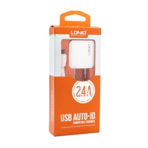 Kucni punjac LDNIO A2201 2xUSB 5V 2.4A + adapter sa micro USB kablom beli