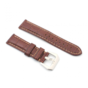 Narukvica elegant relief kozna za smart watch 22mm tamno braon