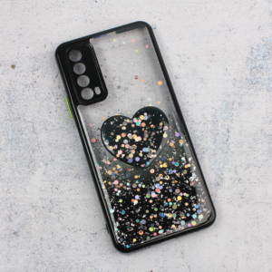 Maska Glitter Heart za Huawei P Smart 2021 crna