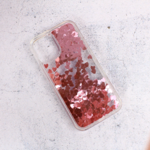 Maska Liquid Heart za iPhone 12 Mini 5.4 roze