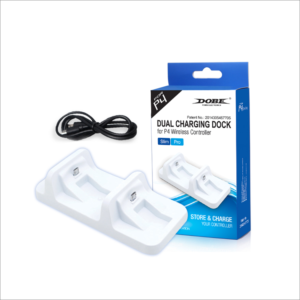 Dobe TP4-002W Punjac za PS4 kontrolere dual beli