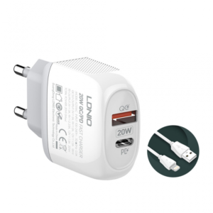 Kucni punjac LDNIO A2316C PD Quick Charge 3.0 sa iPhone lightning kablom
