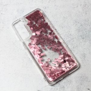 Maska Liquid Heart za Samsung G996B Galaxy S21 Plus roze