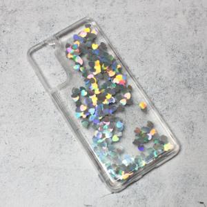 Maska Liquid Heart za Samsung G996B Galaxy S21 Plus srebrna