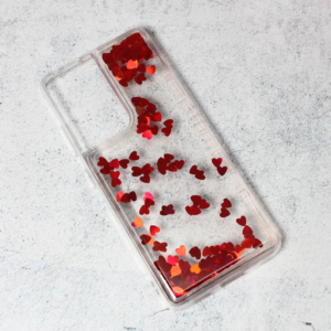 Maska Liquid Heart za Samsung G998B Galaxy S21 Ultra crvena