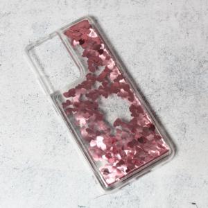 Maska Liquid Heart za Samsung G998B Galaxy S21 Ultra roze