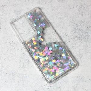 Maska Liquid Heart za Samsung G998B Galaxy S21 Ultra srebrna