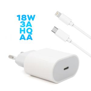 Kucni punjac PD Fast charger 18W 3A za iPhone 11/12 lightning beli HQ AA